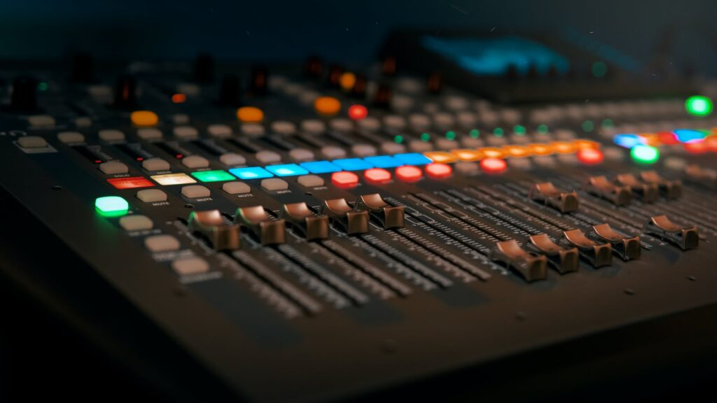 photo of a copper audio mixer